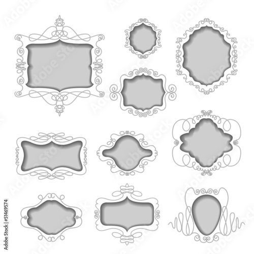 set of frames cut out from white background