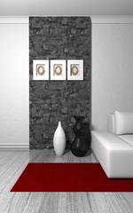 Wohndesign - Teppich rot vor Naturstein Mauer