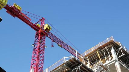 Red crane timelapse. Toronto.