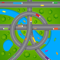 Aerial View of Road Traffic