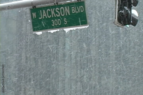 Jackson Boulevard Close Up in Snow
