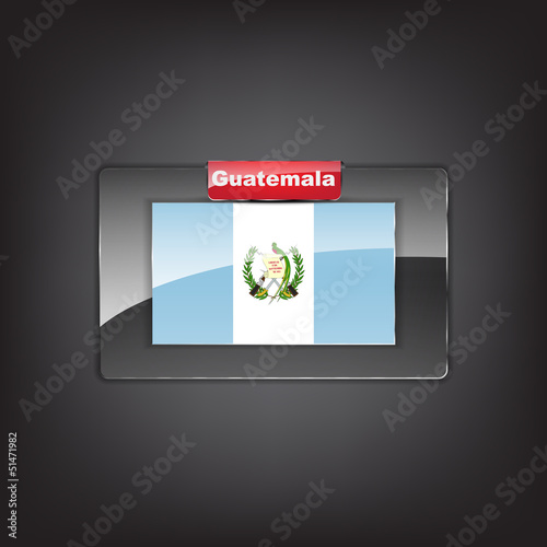 Glass button of the flag of Guatemala