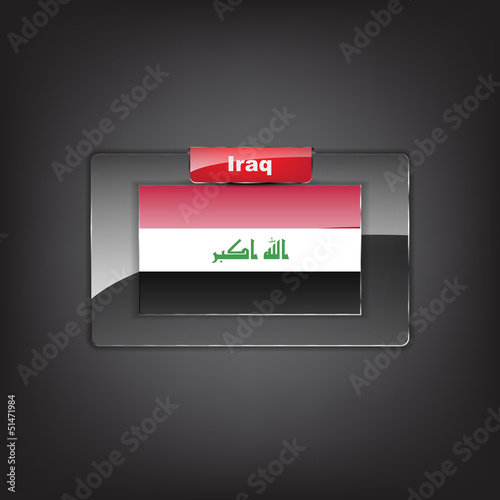Glass button of the flag of Iraq