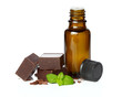 essential oil  essential and chocolate with mint leaves isolated