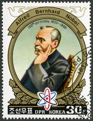 NORTH KOREA - 1984: shows portrait of Alfred Bernhard Nobel