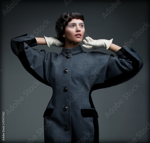 Aristocratically Styled Woman in Autumn Outfit. Retro Fashion