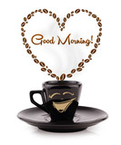 Fototapety Coffee mug with coffee beans shaped heart with good morning sign