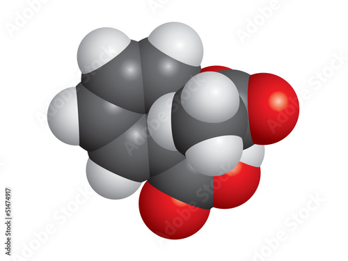 Aspirin (ASA) molecule space-fill model - C9H8O4