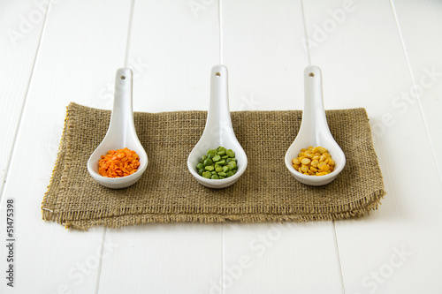 Three types of lentils