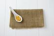 yellow lentils in spoon