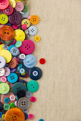 Buttons with copy space on hessian