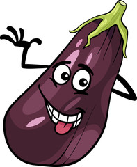 funny eggplant vegetable cartoon illustration
