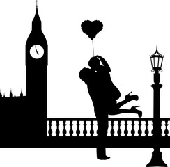 Couple in love with heart balloon in front of Big Ben in London