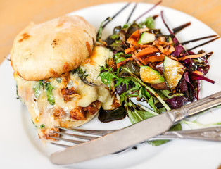 Cheese and Chicken Ciabatta with Salad