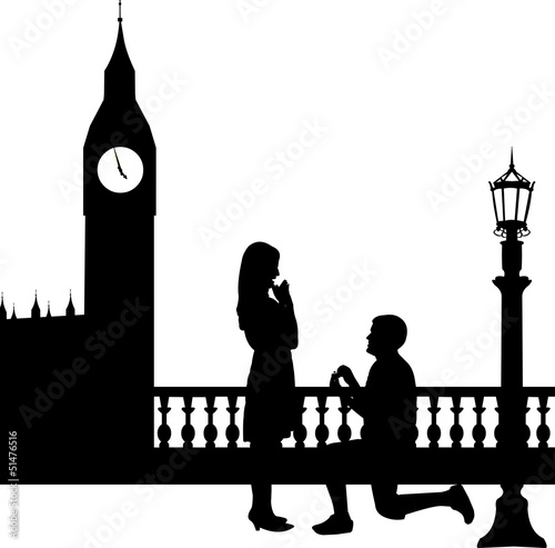 Romantic proposal in London in front of Big Ben silhouette