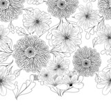 Seamless pattern with dahlia flowers