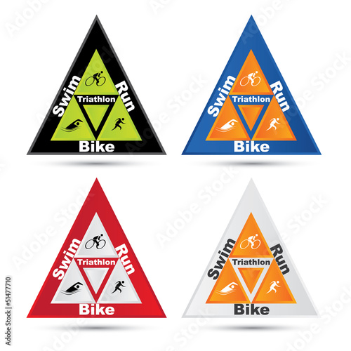 Vector triangle triathlon symbol set