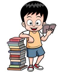 Vector illustration of boy reading book