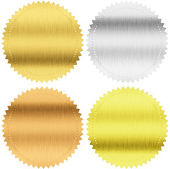 gold, silver and bronze seals or medals isolated with clipping p