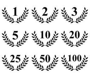Lauriers différents anniversaires