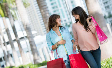 Happy female shoppers