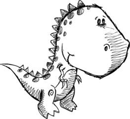 Dinosaur Sketch Doodle Drawing Illustration Art
