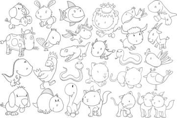 Animal Doodle Vector Illustration Set