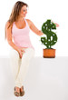 Woman nurturing money plant