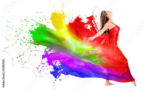 Woman dress turning into color paint