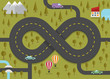 Road in the shape of infinity. Vector illustration.