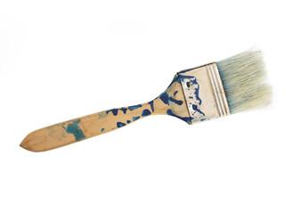 Pinsel benutzt - mit blauer Farbe