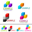Set of abstract brands from vector cubes.