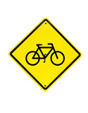 Bicycle Yellow Sign on white background