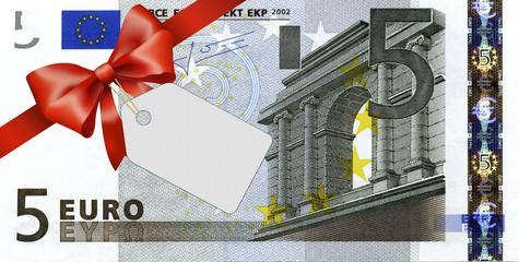 5 Euroschein mit rotem Band und Schleife mit Label