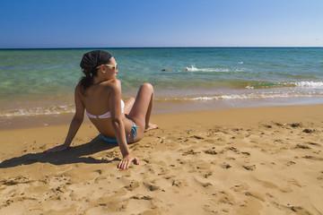girl posing in Santorini island,Greece