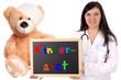 Ärztin mit Teddy und Schild - Kinderarzt