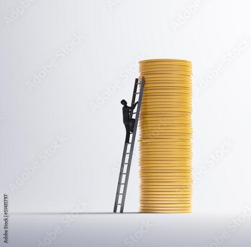 Man climbing a pile of coins