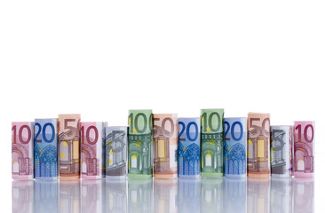 Euroscheine in der Reihe