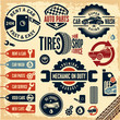 Car service icons set. Vintage labels.