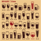 Glasses icons set. Beer glass icons collection.