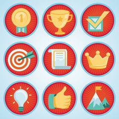 Vector set with achievement and awards badges