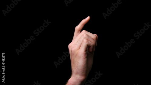 isolated touch screen finger gesture clicking side view