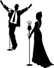 lounge singers in silhouette