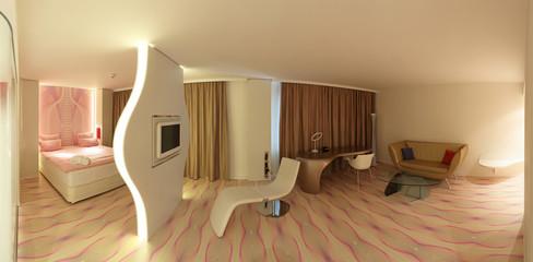 Komplettes Hotelzimmer Bett Schreibtisch und Sitzecke Panorama