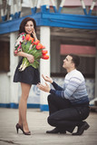 Romantic teenager couple with flowers on dating poster