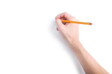 Hand with pencil with copyspace