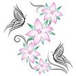 tatuaggio fiori di ciliegio e farfalline
