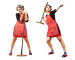 Housewife like javelin-throwing athlete