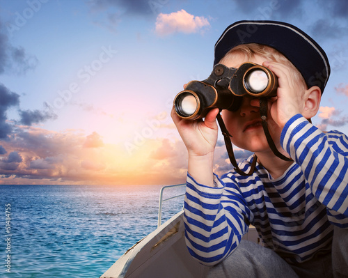 Little ship boy with binocular