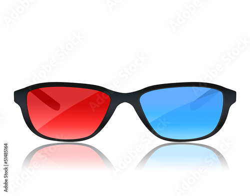 realistic 3d glasses on white